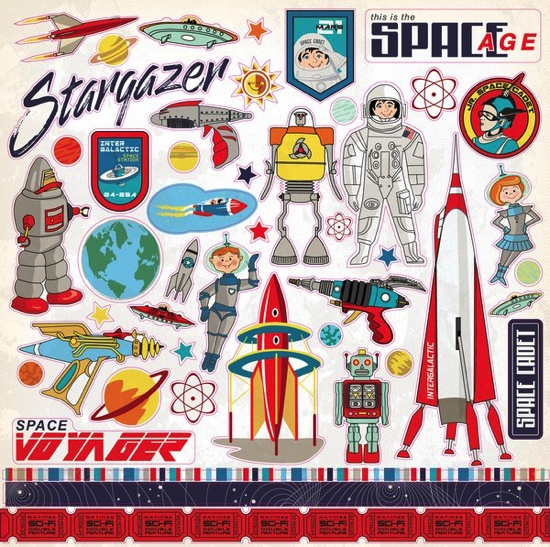 Space Academy 12x12 Cardstock Scrapbooking Stickers and Borders