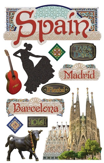 Spain 3D Glitter Scrapbooking Stickers
