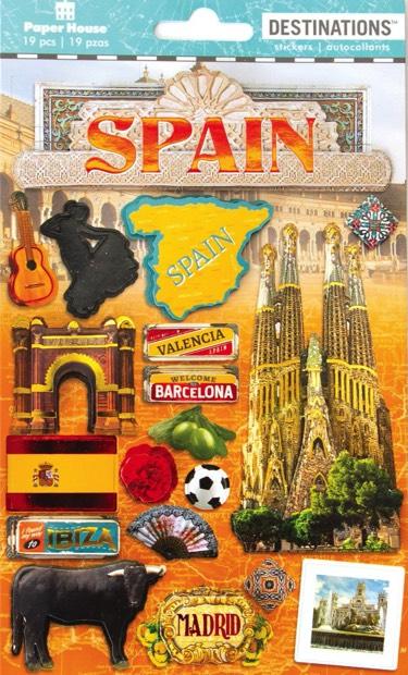 Spain 3D Destinations Scrapbooking Stickers