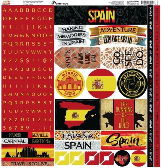Spain 12x12 Cardstock Scrapbooking Stickers Borders and Alphabet
