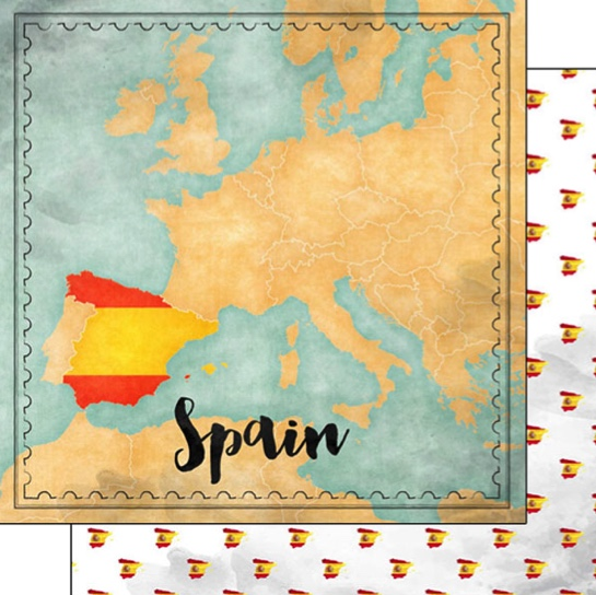 Spain Sights Map 12x12 Double Sided Scrapbooking Paper