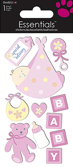 Special Delivery Baby Girl 3D Handmade Essentials Scrapbooking Stickers