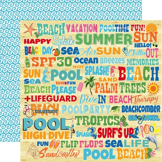 Splash Words Double Sided 12x12 Scrapbooking Paper