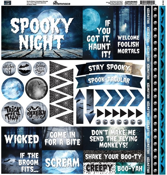 Spooky Night 12x12 Cardstock Scrapbooking Stickers and Borders