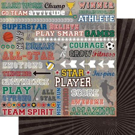 Sport Chitter Chatter 12x12 Double Sided Scrapbooking Paper