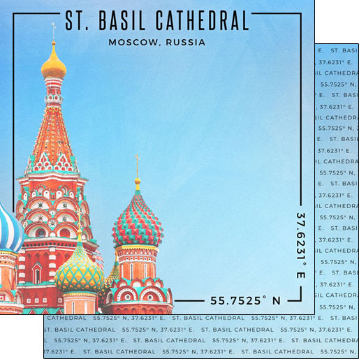 St Basils Cathedral 12x12 Double Sided Scrapbooking Paper