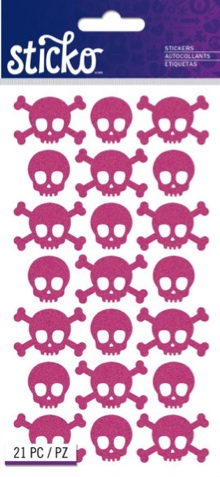 Pink Glitter Skulls Scrapbooking Stickers