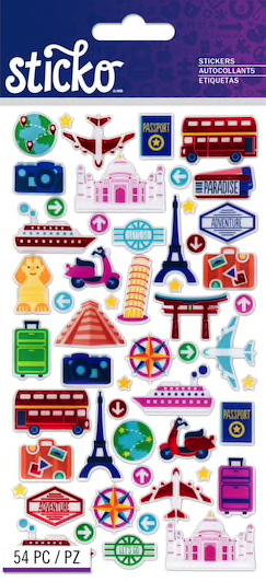International Mini Travel Icons Scrapbooking Stickers