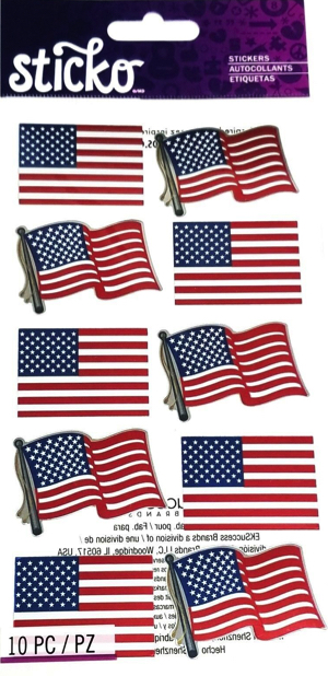 Wavy Flags Shiny Scrapbooking Stickers