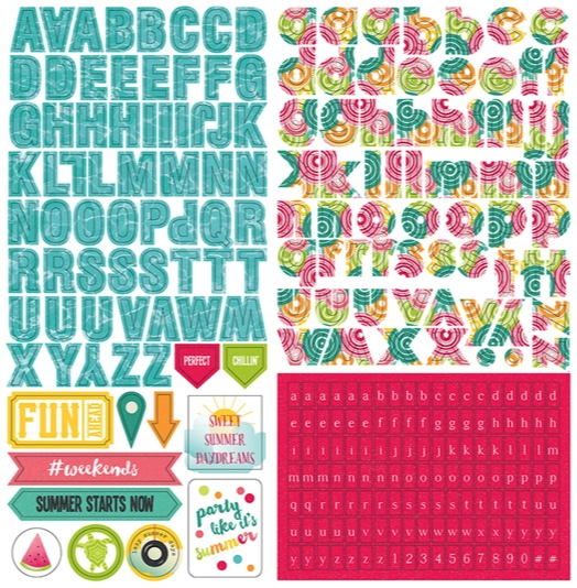 Summer Daydreams 12x12 Cardstock Scrapbooking Stickers and Alphabets