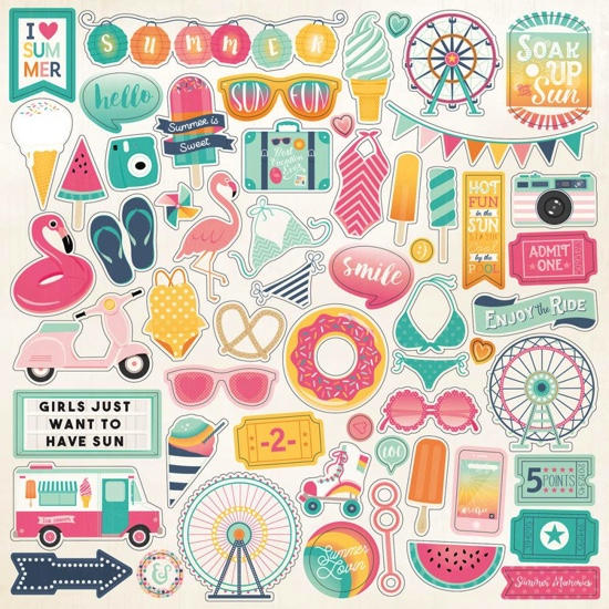 Summer Dreams 12x12 Cardstock Scrapbooking Stickers