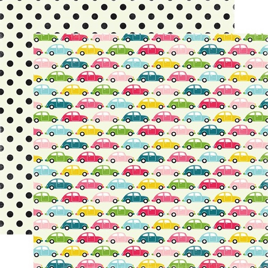 Road Trip Cars Double Sided 12x12 Scrapbooking Paper