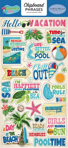 Summer Splash Scrapbooking Chipboard Stickers