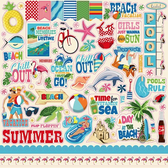 Summer Splash 12x12 Cardstock Scrapbooking Stickers and Borders