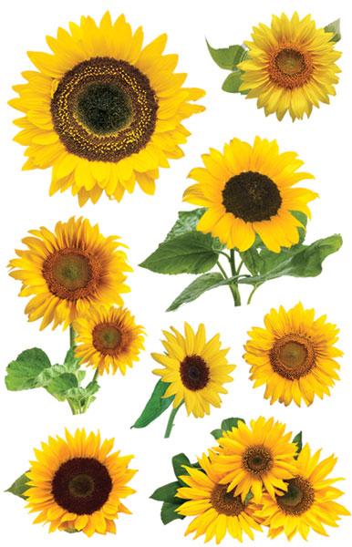 Sunflowers 3D Scrapbooking Glitter Stickers