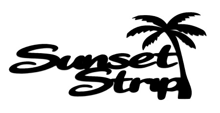 Sunset Strip Scrapbooking Laser Cut Title with Palm Tree