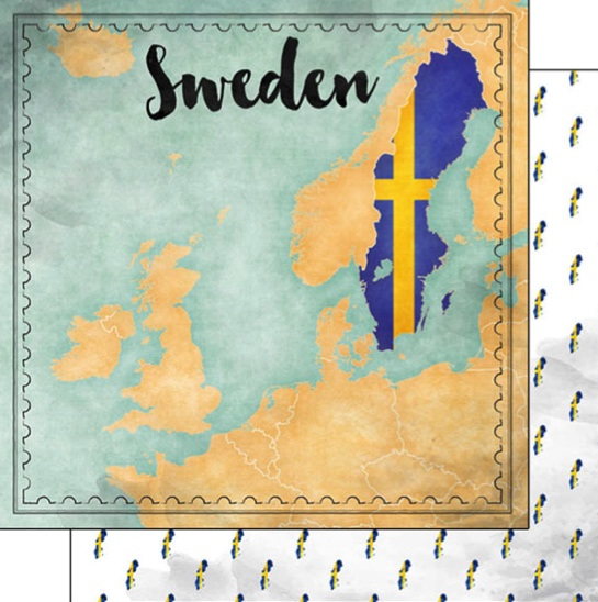 Sweden Sights Map 12x12 Double Sided Scrapbooking Paper
