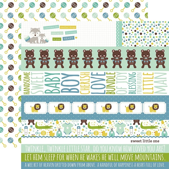 Sweet Baby Boy Border Strips 12x12 Double Sided Paper