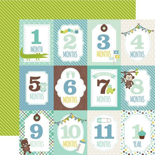 Baby Boy Months Double Sided 12x12 Scrapbooking Paper