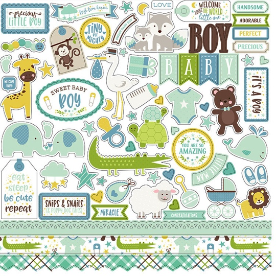 Sweet Baby Boy 12x12 Cardstock Scrapbooking Stickers and Borders