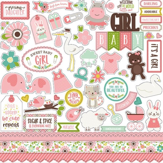 Sweet Baby Girl 12x12 Cardstock Scrapbooking Stickers