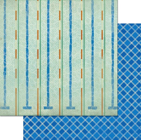 Swim Lanes Double Sided 12x12 Scrapbooking Paper