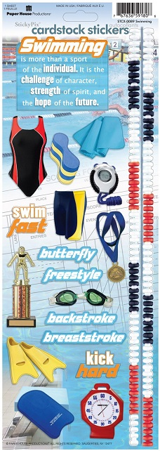 Swimming Cardstock Scrapbooking Stickers