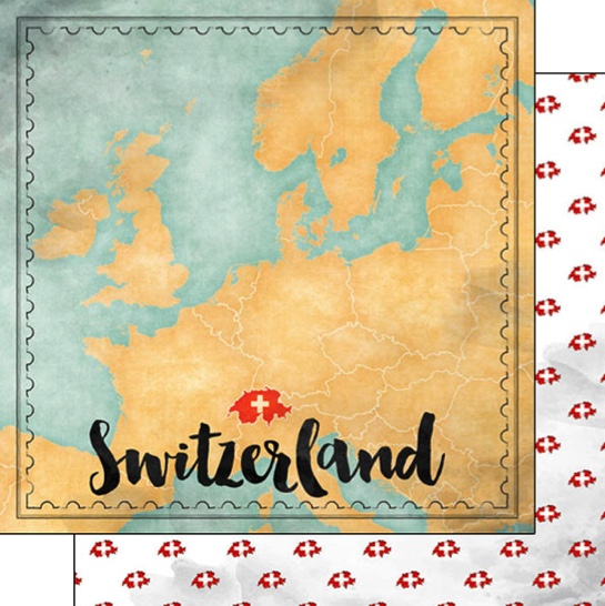 Switzerland Sights Map 12x12 Double Sided Scrapbooking Paper