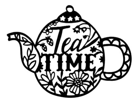 Tea Time Scrapbooking Laser Cut Title in Teapot