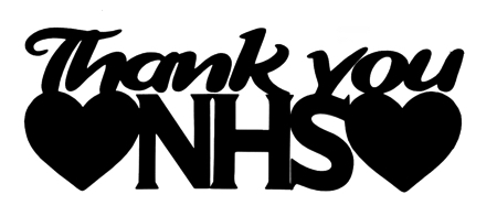 Thank you NHS Scrapbooking Laser Cut Title with Hearts