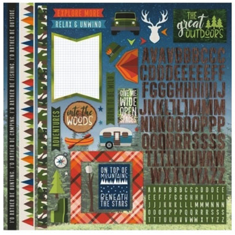 The Great Outdoors 12x12 Cardstock Scrapbooking Stickers and Alphabets