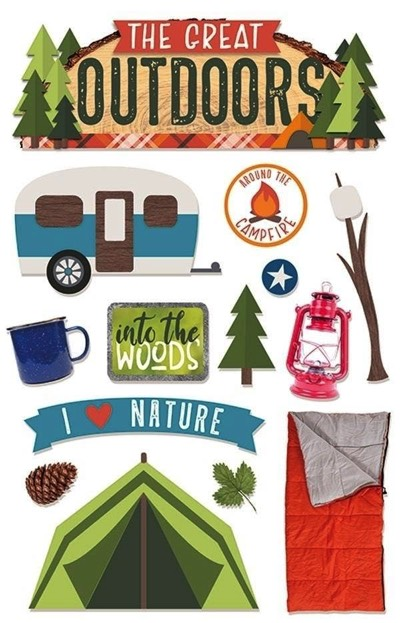 The Great Outdoors 3D Scrapbooking Glitter Stickers