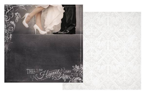 This Is Our Happily Ever After Glitter 12x12 Double Sided Scrapbooking Paper
