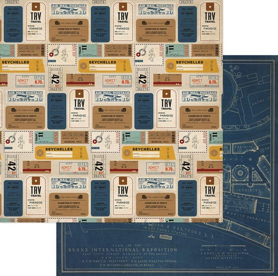 Tickets World Traveller 12x12 Double Sided Scrapbooking Paper