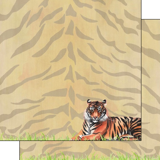 Tiger Safari 12x12 Double Sided Scrapbooking Paper