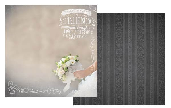 Today I Married My Best Friend Glitter 12x12 Double Sided Scrapbooking Paper