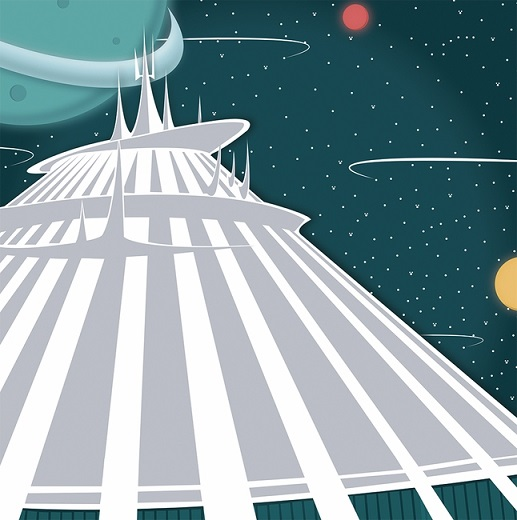 Tomorrowland Space Mountain 12x12 Scrapbooking Paper