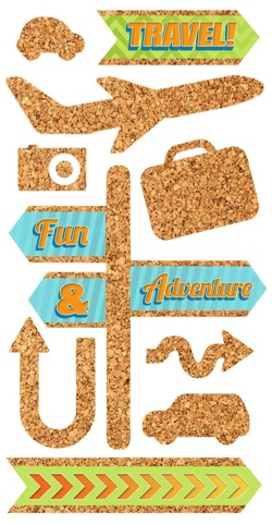 Travel Cork Scrapbooking Stickers