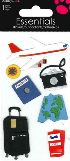 Plane Travel  3D Handmade Essentials Scrapbooking Stickers