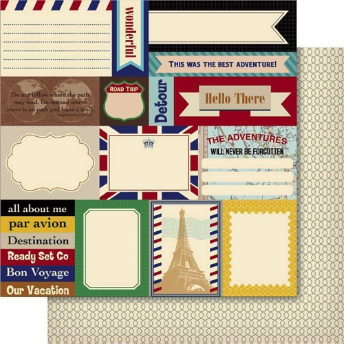 Travel Snippets 12x12 Double Sided Scrapbooking Paper