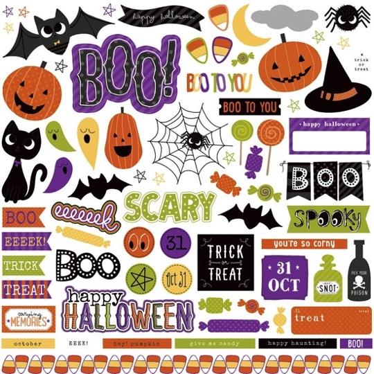 Halloween 12x12 Cardstock Scrapbooking Stickers