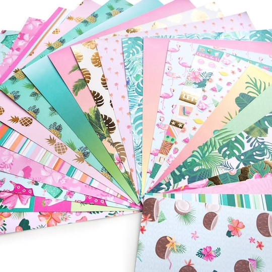 Tropical Vacation Scrapbooking Pack - 24 sheets of 12x12 Paper