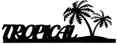 Tropical Scrapbooking Laser Cut Title with Palm Trees