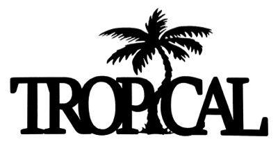 Tropical Scrapbooking Laser Cut Title with Palm