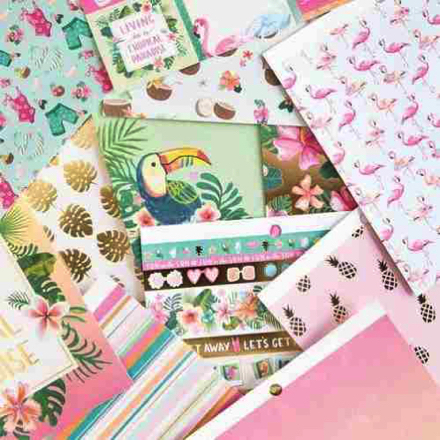 Tropical Vacation Scrapbooking Pack - 12 sheets of 6x6 Paper