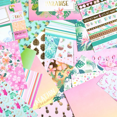 Tropical Vacation Scrapbooking Papers
