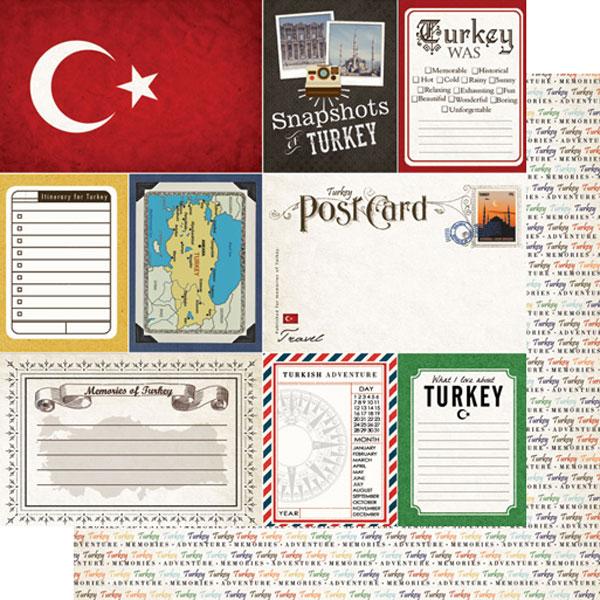 Turkey Journal 12x12 Double Sided Scrapbooking Paper