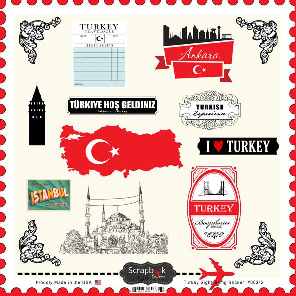 Turkey Sightseeing 12x12 Scrapbooking Stickers
