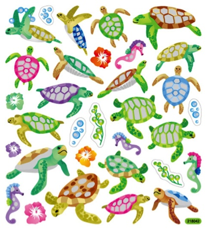 Turtles Glittery Scrapbooking Stickers