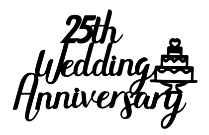 25th Wedding Anniversary Scrapbooking Laser Cut Title with Cake